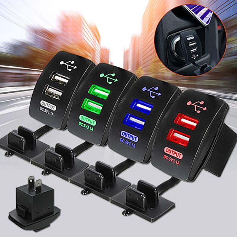 Universal 12-24V LED Dual Port 2 USB 5V 3.1A Car Motorcycle Charger Socket Adapter Power Cigarette Lighter Outlet Car Charger