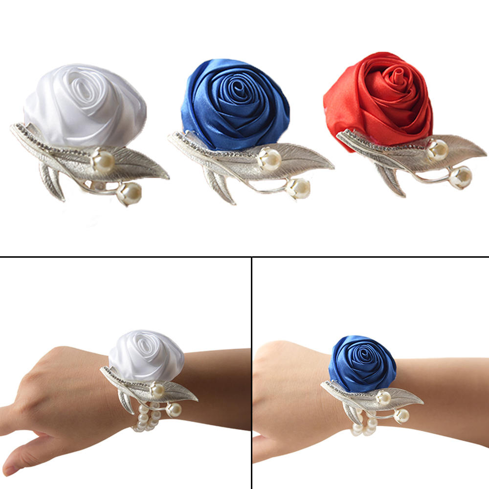 Wedding Prom Corsage Bride Artificial Wrist Flower Ceremony Corsages Party Pearl Bracelet Handmade Bridesmaid Hand Fake Flowers