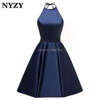 NYZY P53 Satin Halter Corset Back Short Prom Dress Navy Blue Crystal Cocktail Dress Party 2019 vestidos coctel
