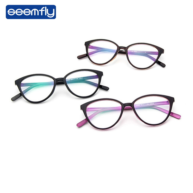 Seemfly Retro Cat Eye Clear Lens Spectacle Frame Brand Women Blue-ray Optical Eyewear Frame Myopia Lens Frame Plain Glasses
