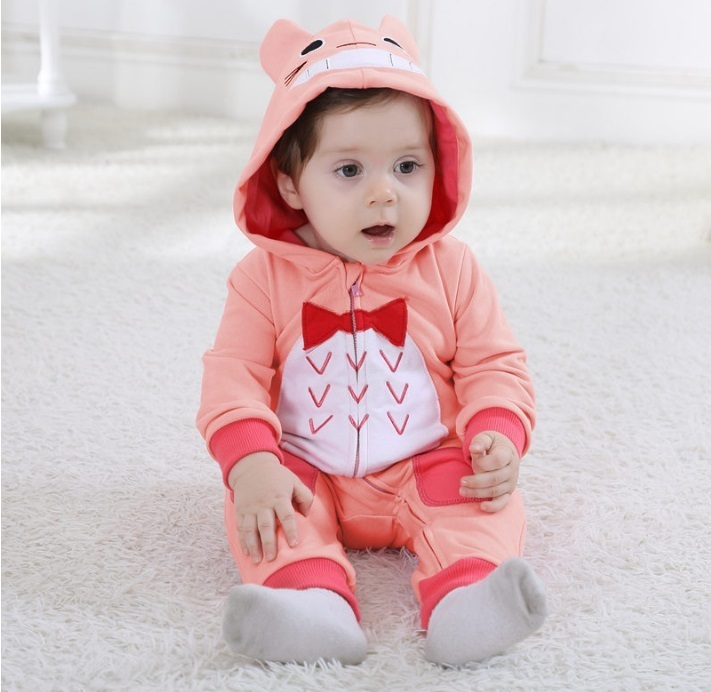 Androktones Children's Totoro Pink Pure Cotton Spring Onesie Kids Girls Pajamas Pyjama Cosplay Cartoon Animal Baby Sleepwear