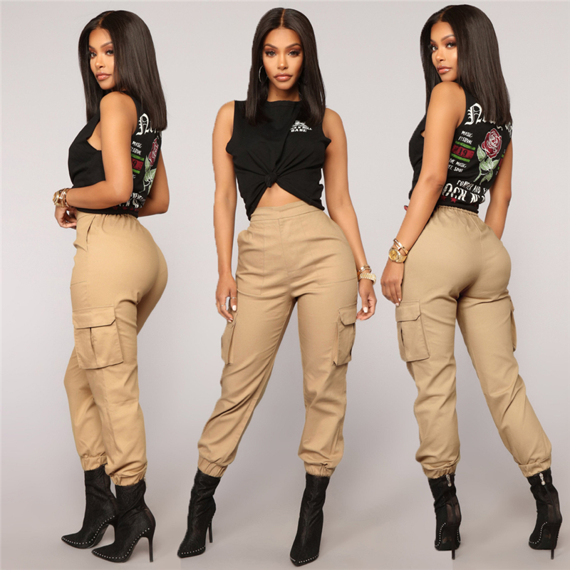 Streetwear Cargo   Pants   Women Casual Joggers Black Fashion High Waist Loose Female Trousers Korean Style Ladies   Pants     Capri