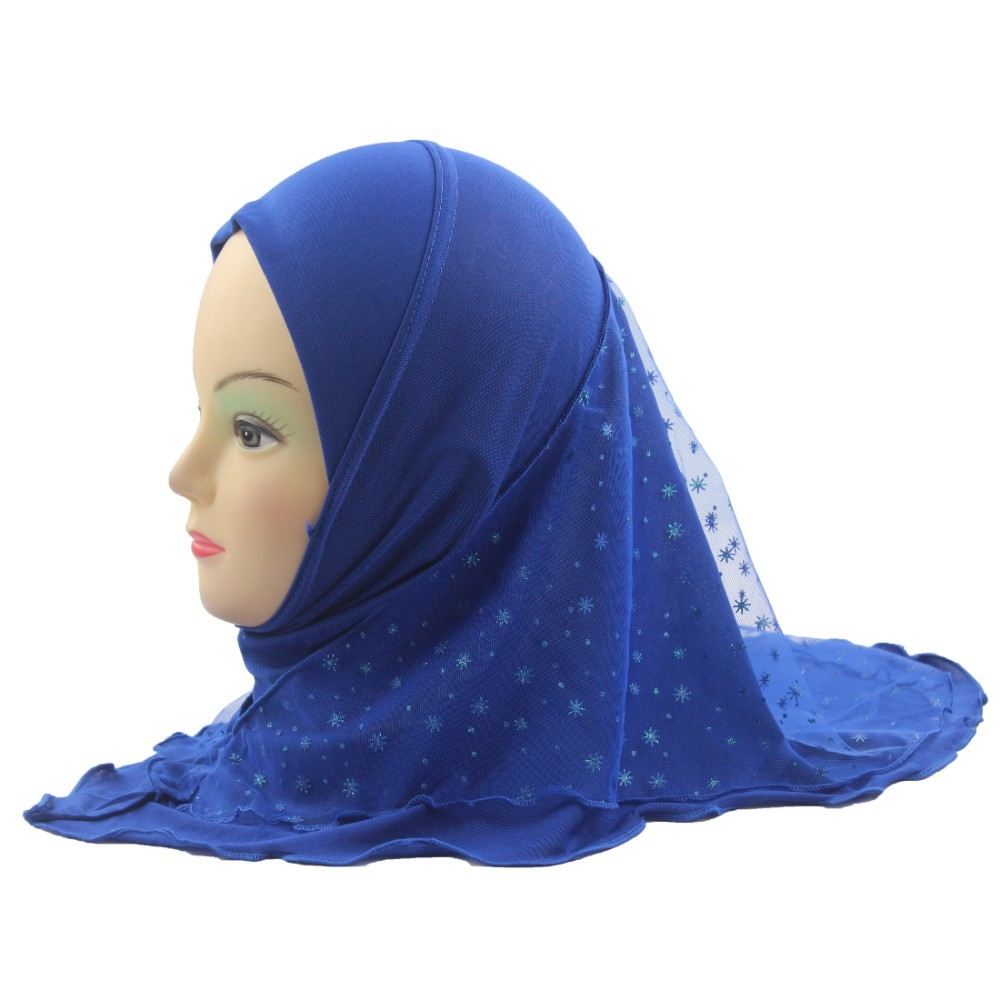 Girls Kids Muslim Hijab Islamic Arab Scarf Shawls With Beautiful Lace Snow Pattern About 45cm For 3 To 7 Years Old Girls