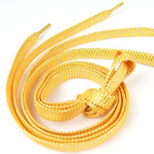 1 pair 10mm Wide Flat Shoelace For Women Men Casual Sneaker Canvas Shoes Shiny Gold Shoe Laces Shoelaces Strings 110cm(China)