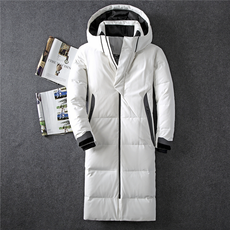 Down-Jacket Hooded Thickening Men's Winter 90%White-Duck-Down Casual New Warm X-Long