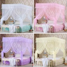Mosquito Nets 4 Corner Post Curtain Princess Bed Canopy Camping Mosquito Net Netting Queen King Size Girls Room Decor Decoration(China)