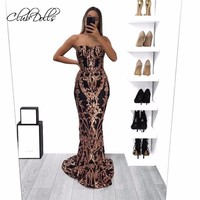 Clubdolls Sequined Sexy Long Dresses Evening Gown Off Shoulder Backless Women Party Evening Dress Elegant Dress Robe De Soiree