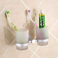 Bathroom Accessories Glass Toothbrush Storage Cups With Space Aluminum Wall Mounted Holder Shower Room Hardware