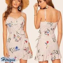 Summer Dresses 2019 New Women Sexy Backless Sleeveless V-Neck Ruffles Floral Slim Mini Dress