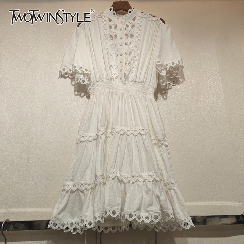 TWOTWINSTYLE Summer Lace Patchwork Women Dress Stand Short Sleeve High Waist Slim Hollow Out Midi Dresses