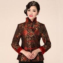 Autumn New Women Satin Jacket Chinese Vintage Formal Clothing Elegant Flower Coa