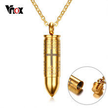 Vnox Bullet Pendant for Men Engraved Cross Lord Bible Prayer Necklace Stainless Steel Male Jewelry Cremation Ashes Urn Bijoux(China)
