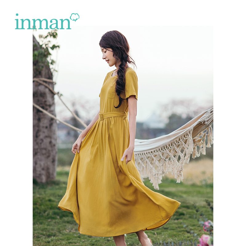 INMAN Summer New Arrival O-neck With Belt Defined Waist Solid Short Sleeve Women Long Dress
