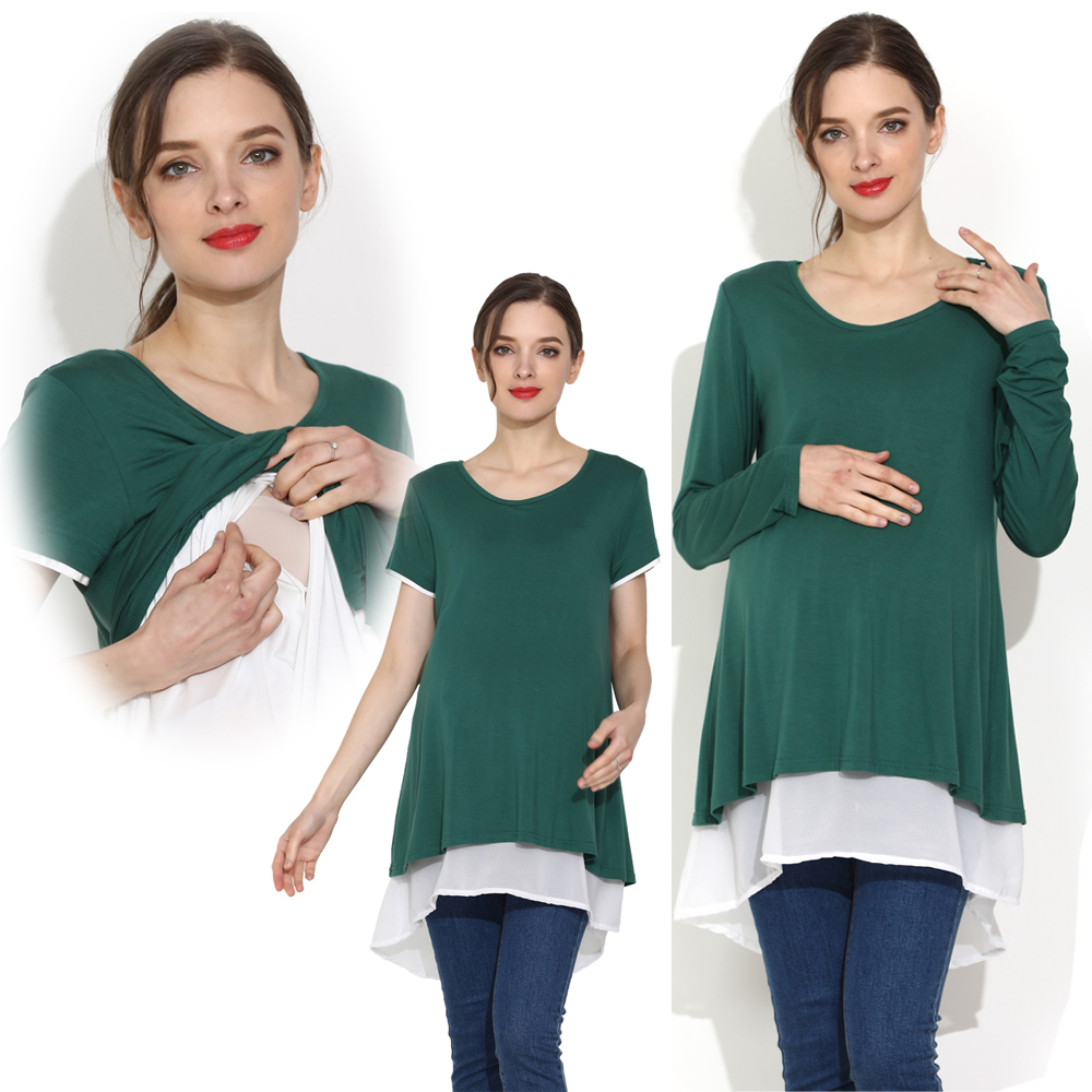 Women's Maternity Nursing Clothing Maternity Nursing Tops for Pregnancy Breastfeeding Milky Nursing Shirts Plus Size Wear
