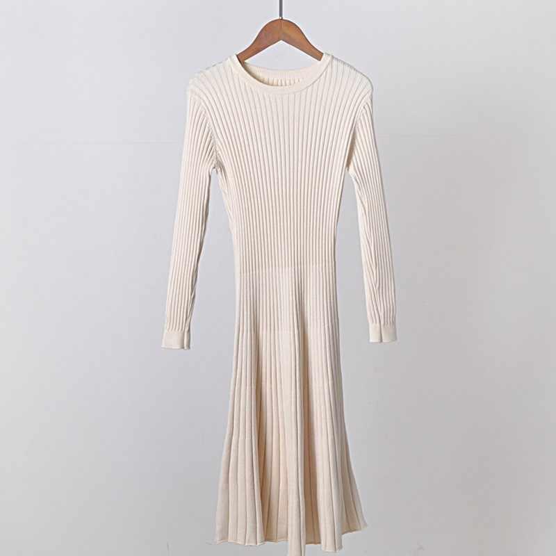 2019 여자 우아한 가을 겨울 스웨터 Bodycon 스케이팅 솔리드 드레스 긴 두꺼운 니트 드레스 따뜻한 풀 슬리브 a 라인