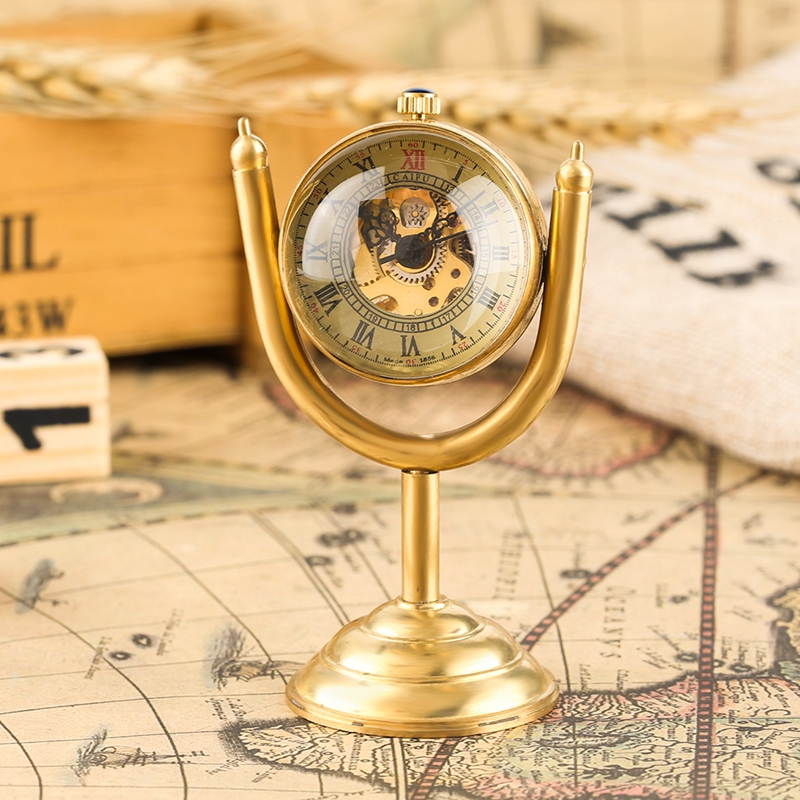 Luxury Spinning Gold Prize Cup Mechanical Pocket Watch Transparent Smooth Globe House Office Desk Decoration As Collectibles