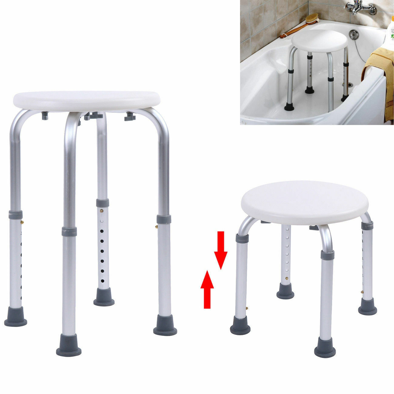 Us 34 17 9 Off Shower Chair Bath Seat Adjustable Medical Safety Aluminum Stool Seating Toilet Shower Chairs Kids Bed Shower Chair In Bathroom Chairs
