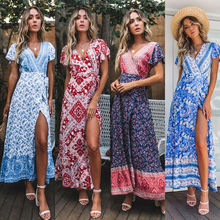 992f313daf New Summer Women Boho Floral Butterfly Sleeve High Waist Maxi Dress Summer  V Neck Beach Sundress · 3 Colors Available