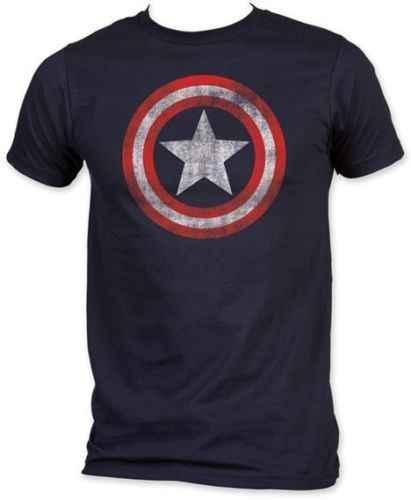 Degli Uomini di modo T-Shirt Captain America Distressed Shield Logo Comics Camicia Adulto M-2XL In Cotone T-Shirt