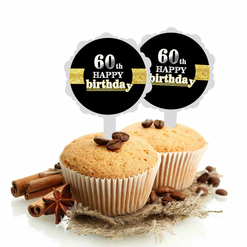 ZLJQ Happy Birthday Cake Toppers 6pcs Black 16 18 21 30 40 50 60 70 80th