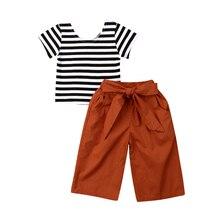 Новинка года, комплект одежды для маленьких девочек из 2 предметов, хлопковая футболка в полоску для маленьких девочек, топ+ широкие брюки с Одежда с бантом