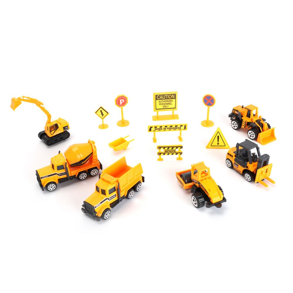 Mini <font><b>Diecast</b></font> Plastic Construction Vehicle Engineering <font><b>Cars</b></font> Dump Truck With Accessories Excavator <font><b>Model</b></font> Toys For Children Boys Gi image