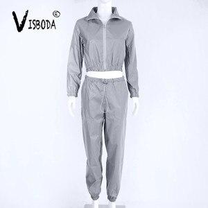 Image 5 - Women Tracksuit 2 Piece Set Hip Hop Reflective Crop Top Pants Fashion Female Loose Zipper Jacket Coat Matching Sets Plus Size