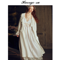 Europe Autumn Winter Robe set Sleepwear Women Long sleeve Nightgown Two Pieces Queen Dress Gorgeous Sexy Goddess High Quality