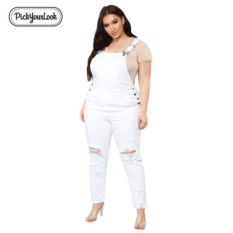 PickYourLook Women   Jumpsuit   Large Size Denim Ripped White High Street Plus Size   Jumpsuit   Vintage Party Slim Lady Belted Mono