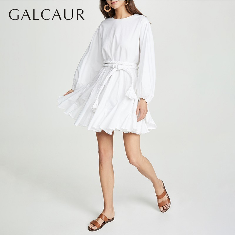 GALCAUR Casual Pleated Dresses Female High Waist O Neck Long Sleeve Bandage Mini Womens Dress 2019