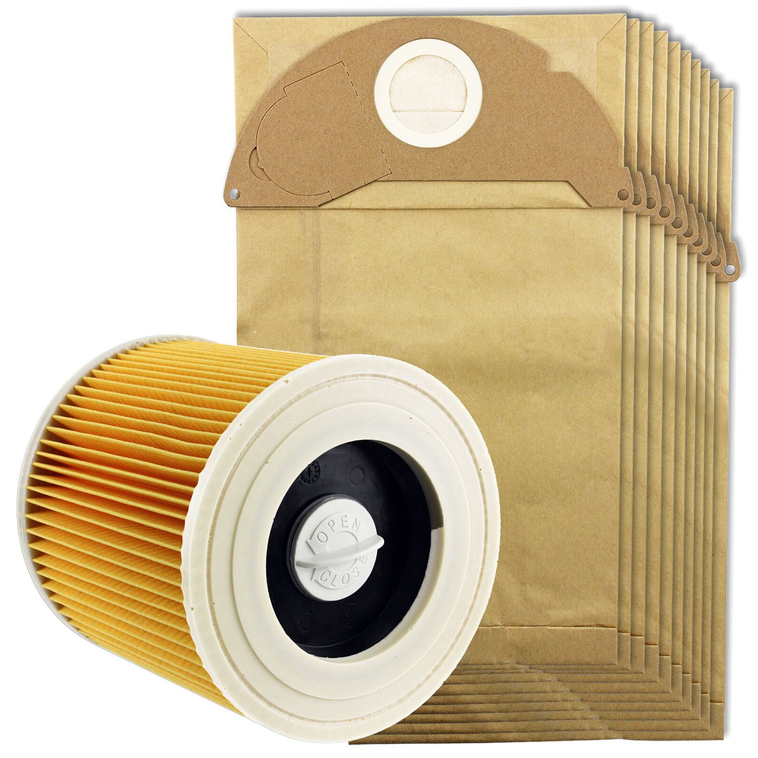For Karcher Wet&Dry Wd2 Vacuum Cleaner Filter And 10x Dust BagsFor Karcher Wet&Dry Wd2 Vacuum Cleaner Filter And 10x Dust Bags