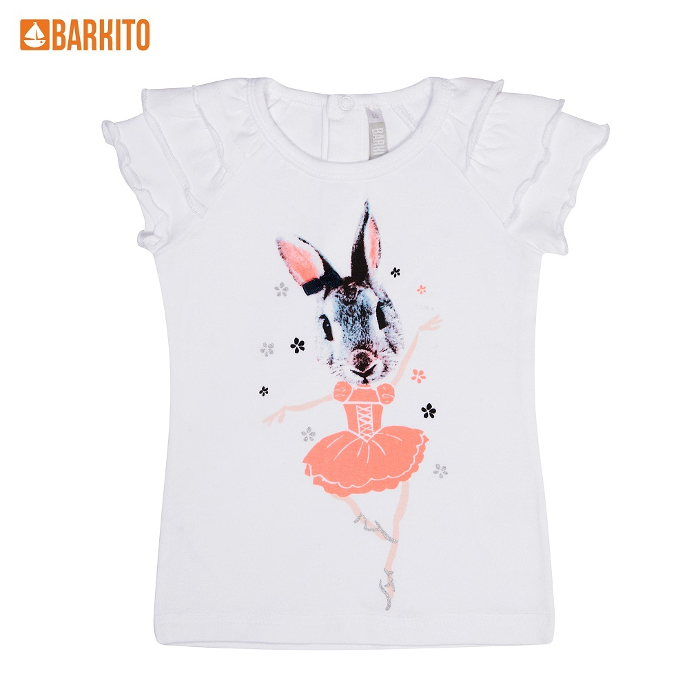 T-Shirts Barkito 339024 children clothing Cotton 32A-30274KOR White Girls Casual t shirts barkito 339006 children clothing cotton 32a 30475kor yellow boys casual