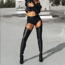 Sexy Women Long Boots Spring Autumn  Over The Knee Leather Boots Pointed Toe Stiletto Heels Boots New Balck Party Shoes недорого