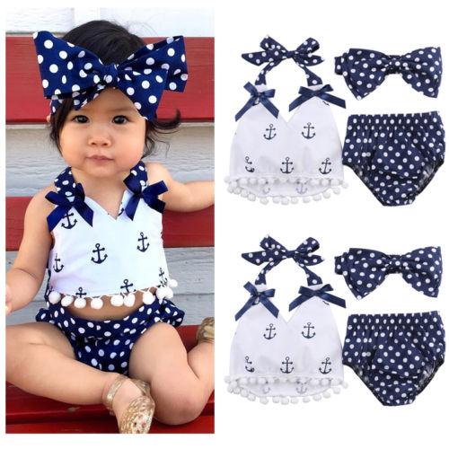 3pcs Baby Girl Clothes Cotton Tops+Briefs Shorts+Headband Sleeveless Sunsuit Summer Beach Outfit Set