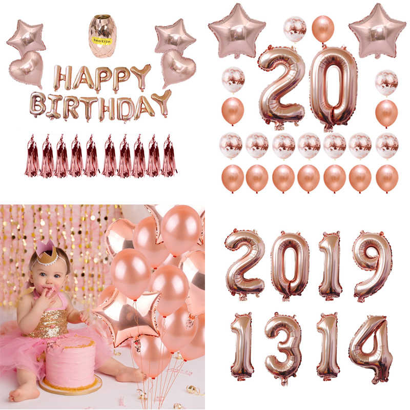 Happy Birthday Party Decorations Rose Gold Letter Balloons 32inch Number Foil Balloon Globos Wedding Baby Shower Party Supplies