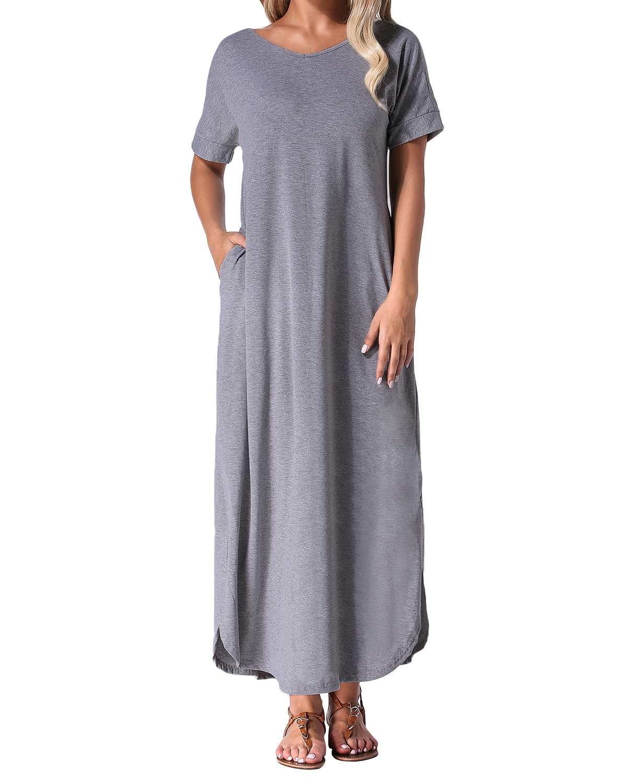 100% QualitäT Sommer Maxi Lange Party Bodycon Kleid Zanzea 2019 Frauen Casual Lose Feste Sexy V-ausschnitt Kurzarm Baumwolle Split Kleid Plus Größe Professionelles Design