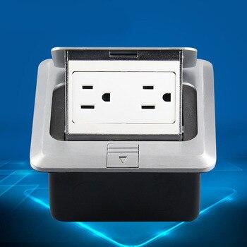 Bodenanschlussdose | 120 Typ Aluminium Silber Panel Uns Standard Pop Up Boden Sockel Elektrische Doppel Outlets Mit Abdeckung Montage Box (Uns Stecker)
