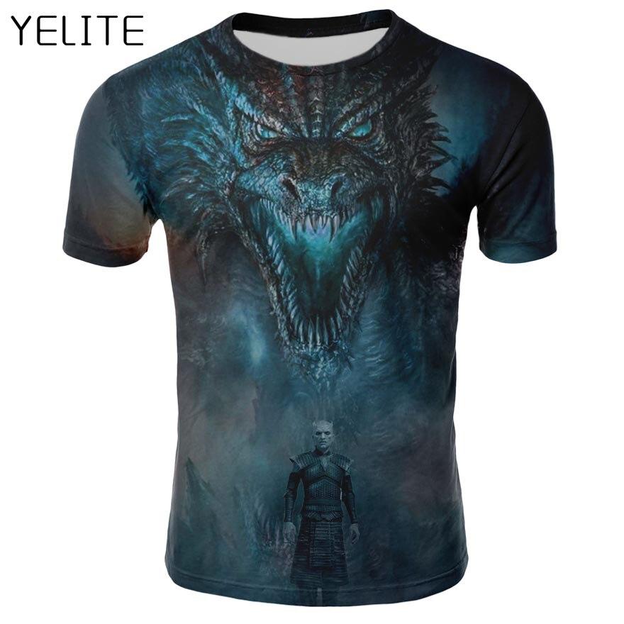 YELITE 2019 nouveau T-shirt Game of Thrones T-shirt nuit roi & Dragon T-shirt homme impression 3d T-shirt été Hip Hop à manches courtes