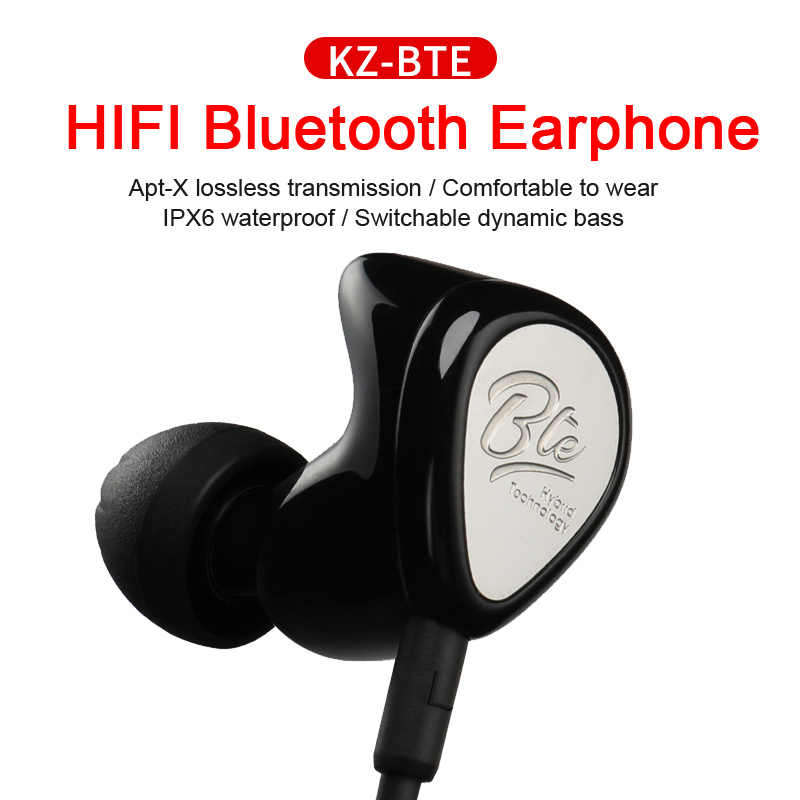 KZ BTE 1DD+1BA APTX Headset Sports Bluetooth Earphone Wireless Hybrid  Headphones HIFI Bass Balanced Armature Earbuds for Phones