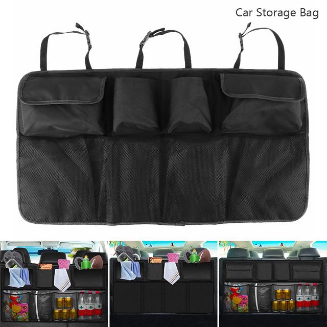 Black Car Trunk Organizer Backseat Storage Bag Seat Hanging Pocket Universal Automobiles Stowing Tidying Interior Accessories