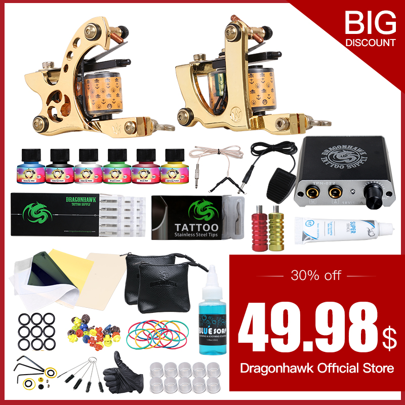 Tattoo kits 2 Tattoo Machines 6 Colors Ink Power Supplies Box Grips Body Arts Supplies Needles