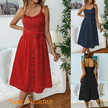 Summer Dress US Womens Polka Dot Midi Wrap Button Front Ruffle Dress Ladies Evening Size 6-14