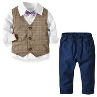 Toddler Boys Clothing Set White Blouse Shirt Brown Vest Blue Pants American Bow School Uniform Boys Clothes For 1 2 3 4 5 6 Year