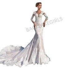 e275c883e5 Modesto de manga larga vestidos de novia sirena 2018 de encaje apliques  capilla tren vestidos de novia con velo