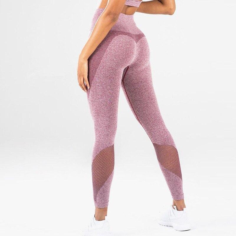 CHRLEISURE New Fitness Leggings Women Sexy Casual High Waist Mesh Stitching Leggings Sports Large Size High Waist Leggings
