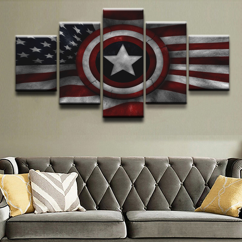 Wall Art Home Decor Top Rated Canvas Print Pictures 5 Pieces Avengers Captain America Flag Paintings Poster For Living Room in Painting Calligraphy from Home Garden