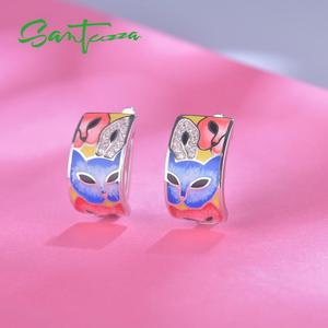 Image 5 - SANTUZZA Silver Earrings For Women 925 Sterling Silver with White CZ Hand made Enamel Lovely Cat Unique Earring Fashion Jewelry