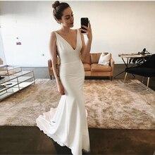 white Mermaid Beach Wedding Dresses Sexy Deep V-neck Backless Satin Bridal Dresses Sweep Train Floor Length 2019 New Arrival