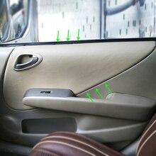 Apoyabrazos de Interior de cuero de microfibra para puerta de coche, cubiertas de molduras para Honda Fit / Jazz 2004 2004 2005 2006 2007 Hatchback / Sedan