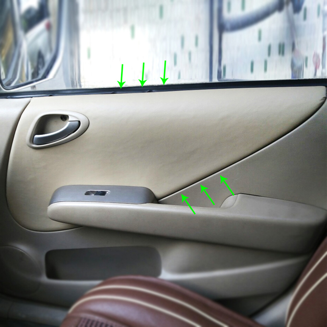 Microfiber Leather Interior Car Door Armrest Panel Covers Trim For Honda Fit / Jazz 2004 2004 2005 2006 2007 Hatchback / Sedan